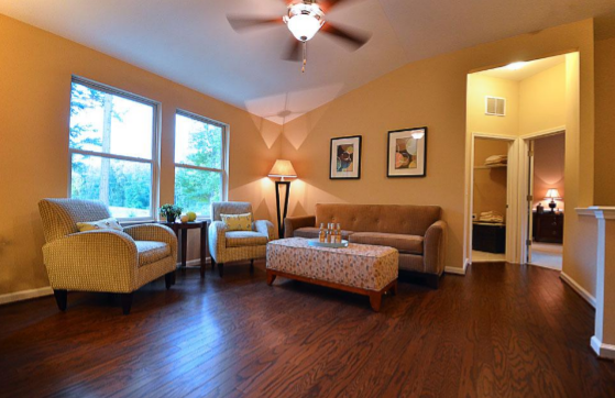 Beautiful Hardwood Floors in the Living Room of a Brightleaf at the Park Home for Sale